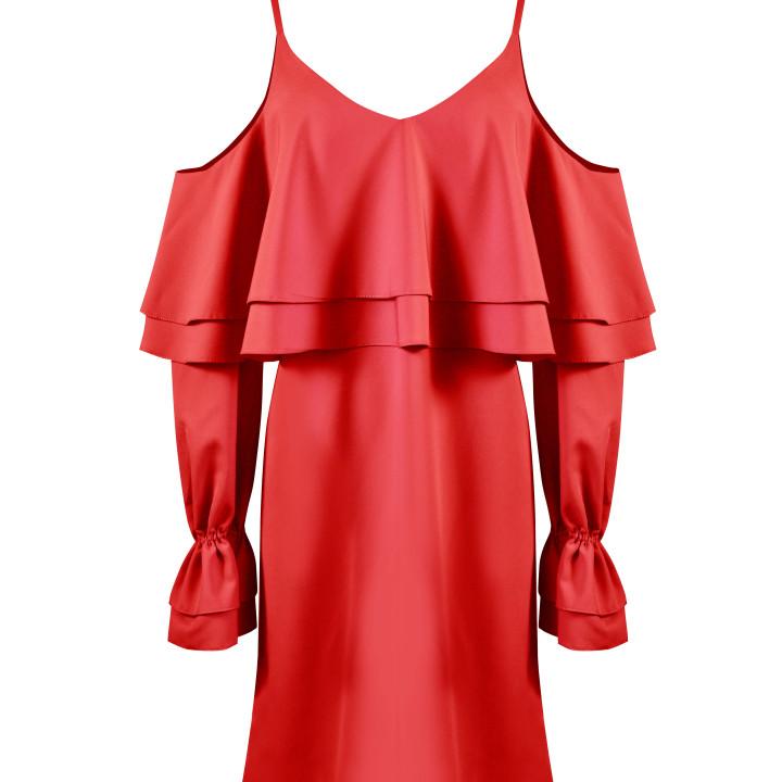 Sukienka z falbanami bordowa