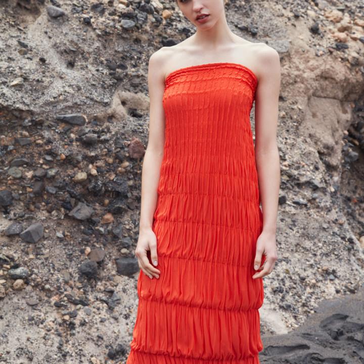 Sukienka maxi z marszczeniami