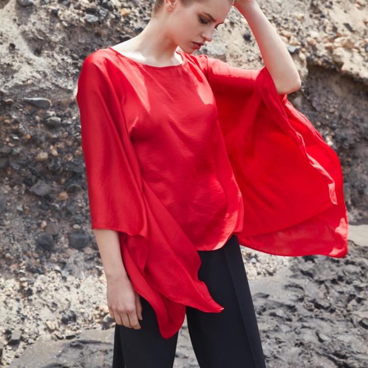 Bluzka motyl szara/ czerwona