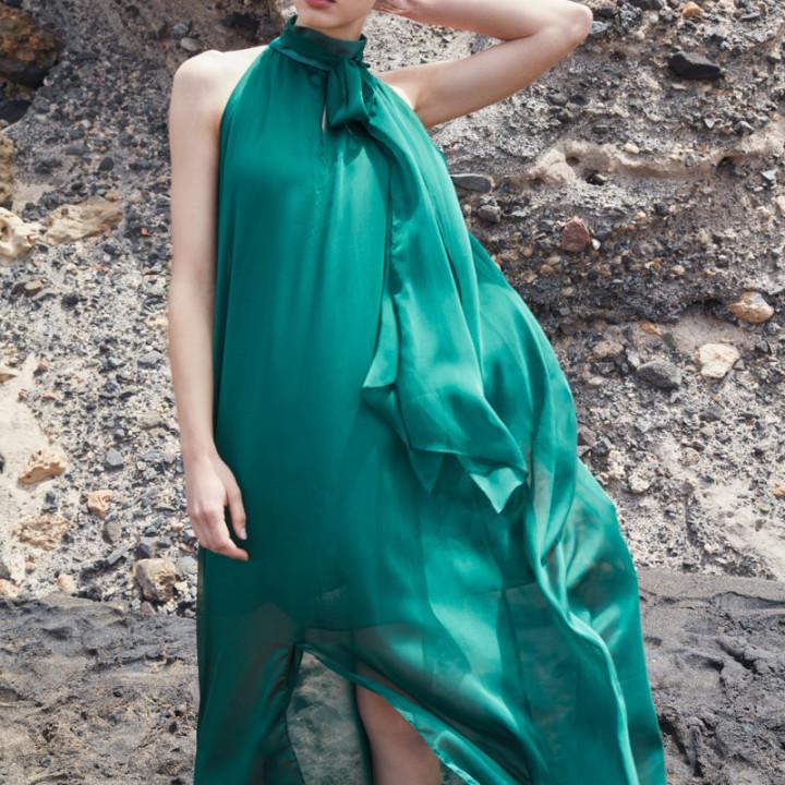 Szyfonowa sukienka maxi zielona/szara