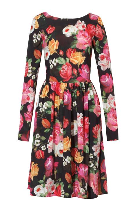 Mini, jedwabna sukienka w kwiaty