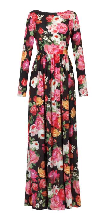 Długa, jedwabna sukienka w kwiaty