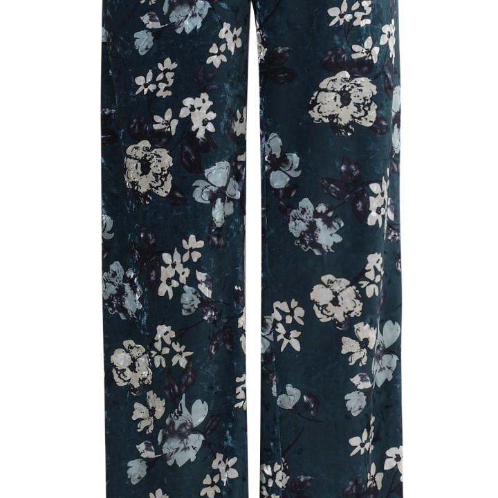 Spodnie welurowe w kwiaty