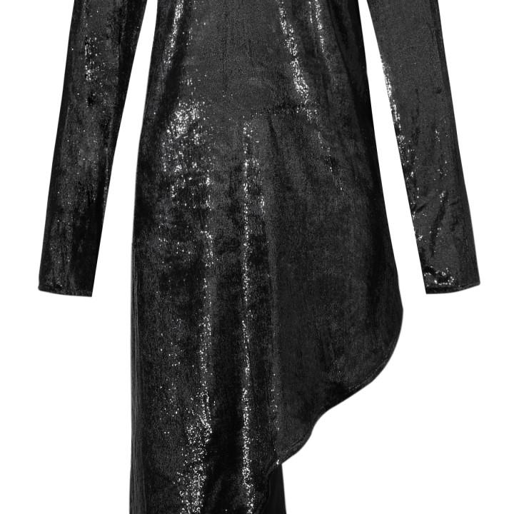 Asymetryczna welurowa sukienka z długim rękawem