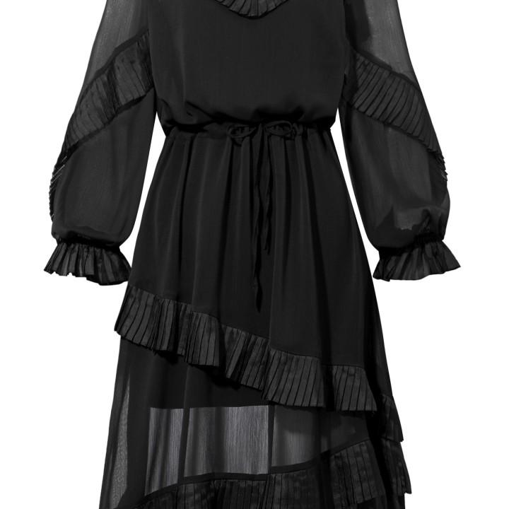 Czarna szyfonowa sukienka z falbankami