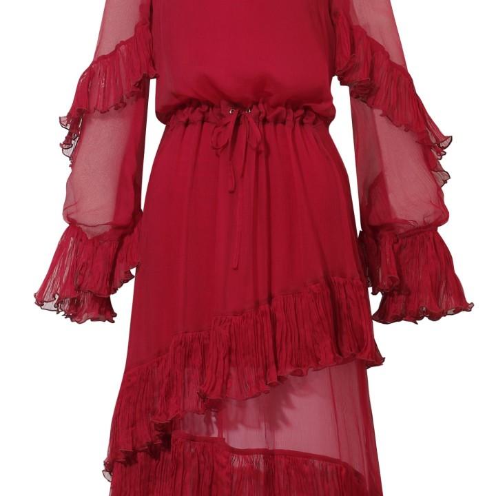 Bordowa szyfonowa sukienka z falbankami